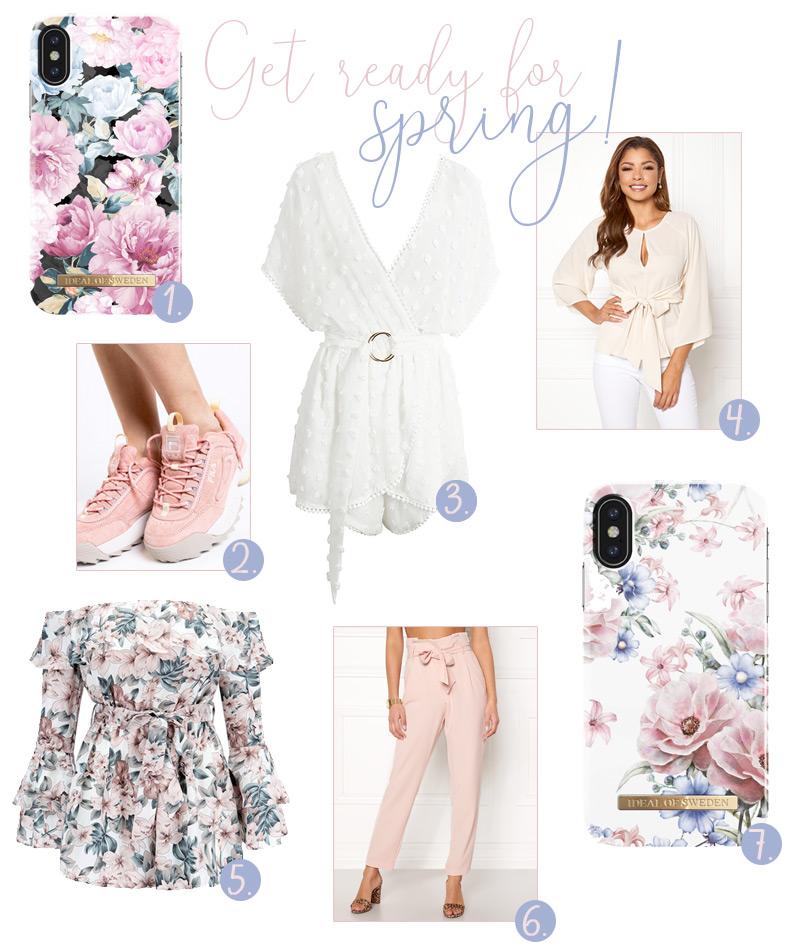 Snygga vårkläder med ljusa färger och blommiga mönster