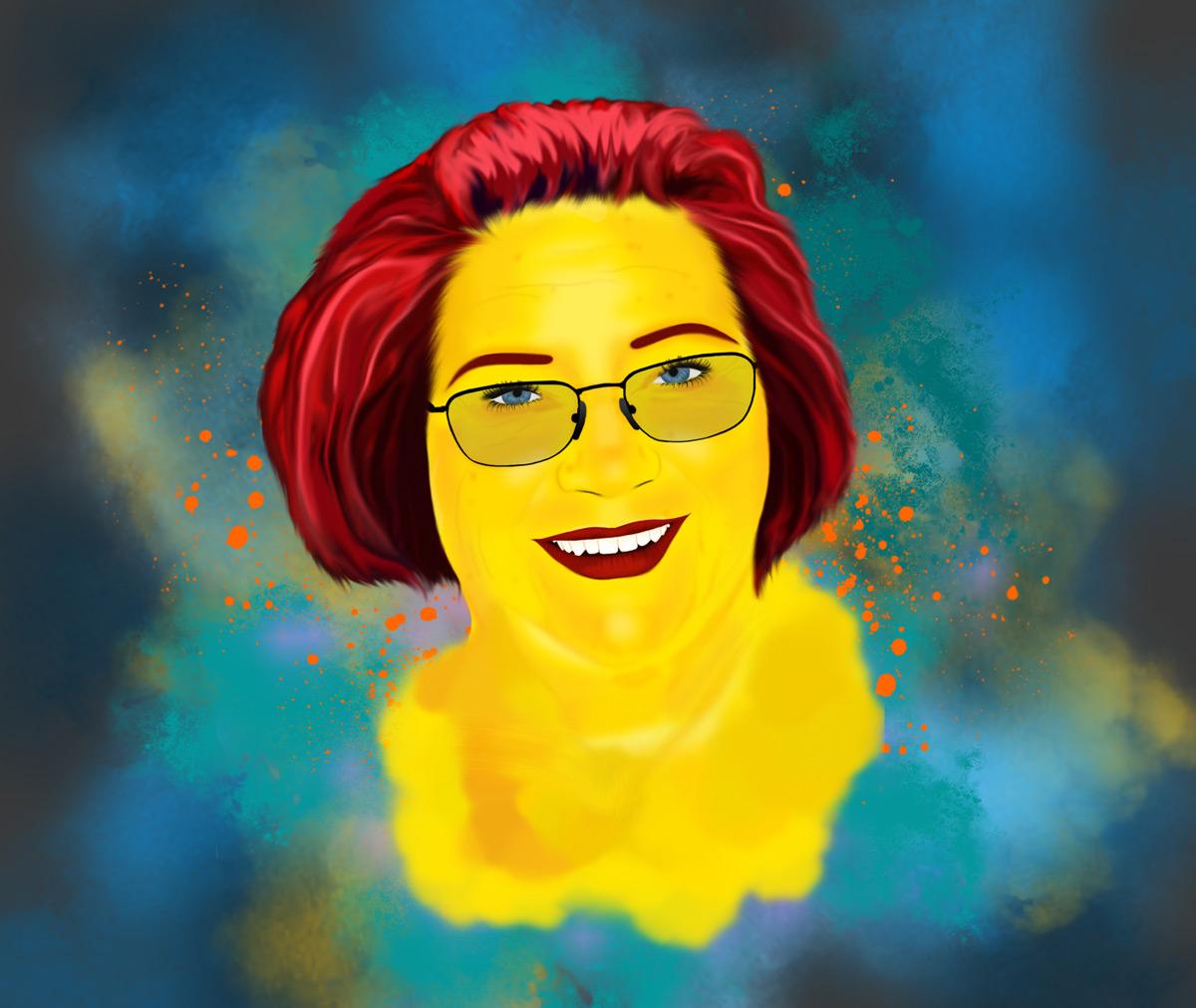 Digital målning av mormor